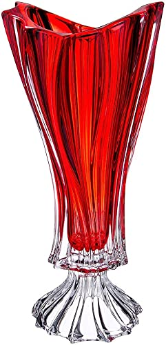Czech Bohemian Crystal Glass Footed Vase 16 -Height Plantica Red Decorative Wedding Gift Elegant Centerpiece Flower Vase Vintage European Design Classic Crystal Glass