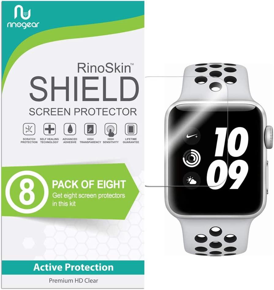 (8-Pack) Apple Watch 38mm Screen Protector (Series 3 2 1) RinoGear Case Friendly iWatch Screen Protector for Apple Watch Series 3 38mm Accessory Clear Film