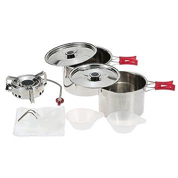 docooler® al aire libre Camping batería de cocina de acero ...