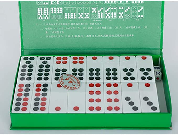 NuoEn Tarjetas de fichas de PAI gow Chino Juego de Juegos de Chino Tradicional Juegos de Tiempo Libre para la Familia 32 Azulejos Azul o Rojo o Blanco (Color : Red) :