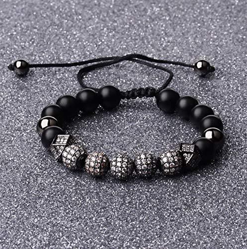 Werrox 10 Pieces Balls 4MM Copper Beads Charm Crown CZ Braided Macrame Men Bracelets | Model BRCLT - 3570 |