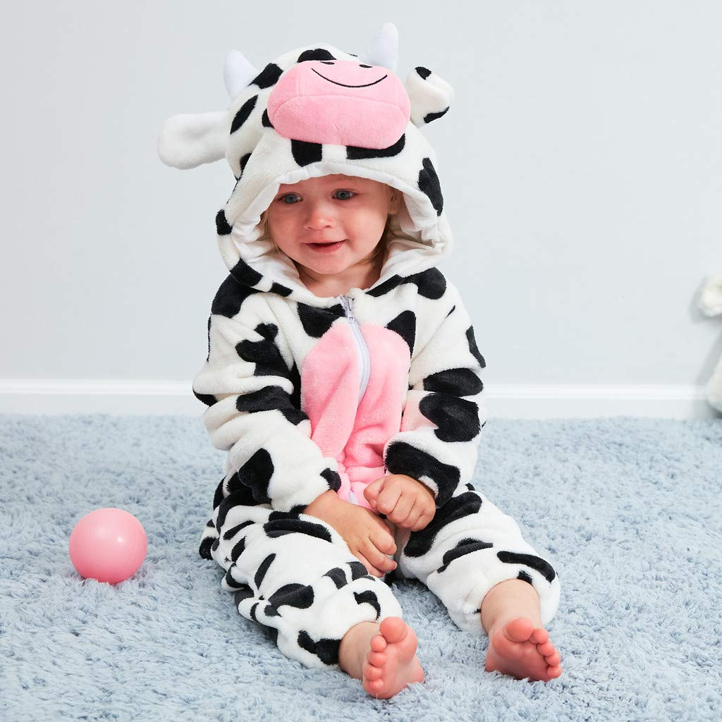 Adagod Milk Cow Newborn Baby Girl Boy Cartoon Animal Hooded Flannel Romper Jumpsuit Warm Clothes