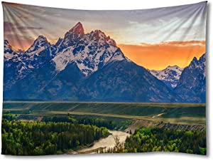 FHYGJD Grand Teton River Mountain Summer Art Print Tapestries,Home Wall Decor Tapestry (40x60 inch)