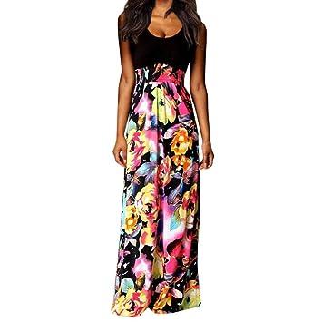 LILICAT® Vestido largo de Boho para mujer Boho 2018 Vestido de playa de estampado floral