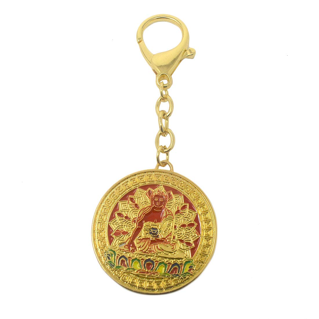 Feng Shui 2019 New Ratnasambhava Buddha Pendant Keychain W Red String Bracelet W3692(red) by fengshuisale