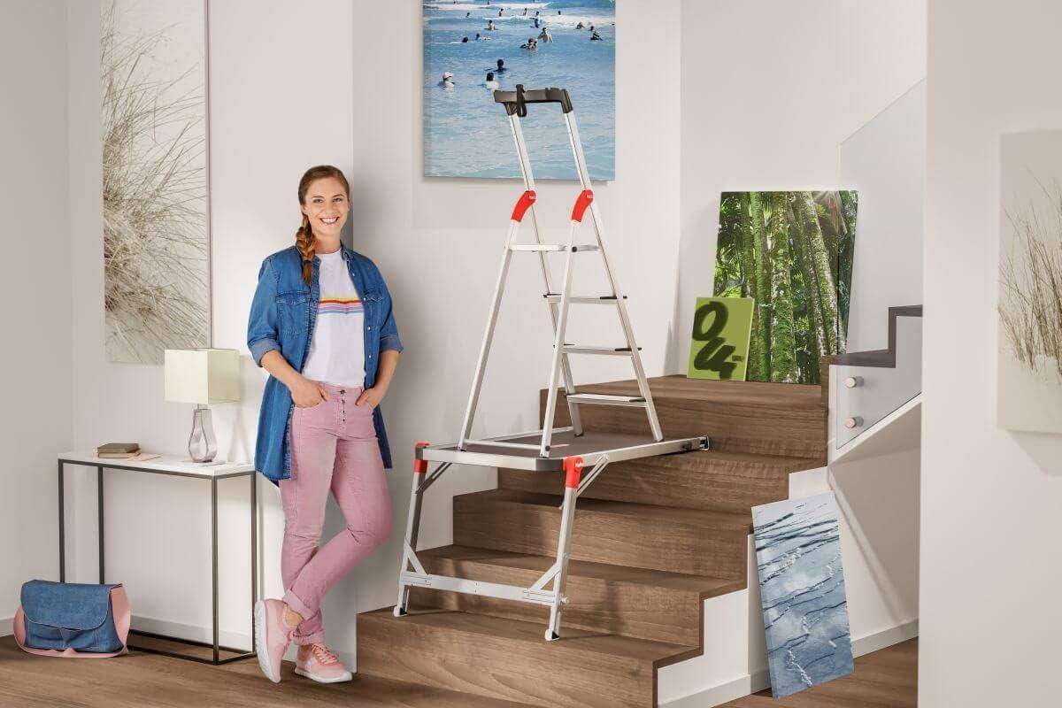 Hailo Juego de escalera TP1 con 4 peldaños, escalera de aluminio de seguridad, escalera de casa XXR EasyClix o escalera plegable de 2 niveles LivingStep Comfort Plus, Gris: Amazon.es: Bricolaje y herramientas