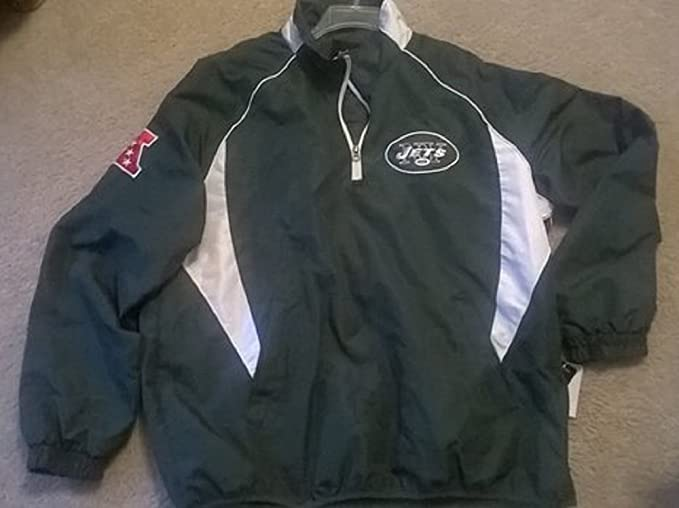 sports shoes 688a5 10e8a men NY Jets jacket NFL pullover green Large (xlarge): Amazon ...