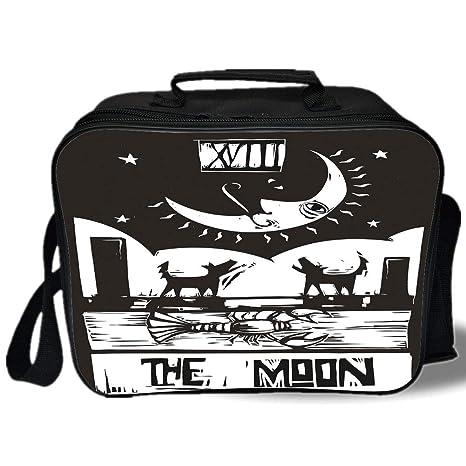Bolsa aislada para el almuerzo, luna, negro y blanco, estilo ...