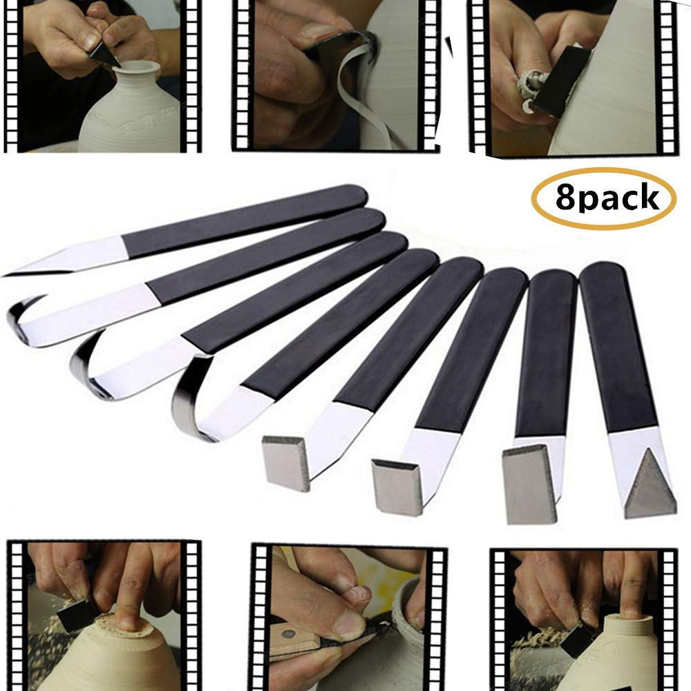 8 Pack Pottery Tools - Stainless Steel Carving Shaping Knives Clay Sculpture Hand Tools Craft Trimming Artist Ceramic Tools Set with Rubber Handle