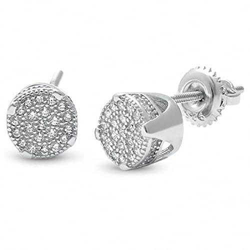 92f7cb24d Amazon.com: Round Hip Hop Men Women Unisex Screwback Stud Earrings Round  Pave Simulated CZ 925 Sterling Silver: Jewelry