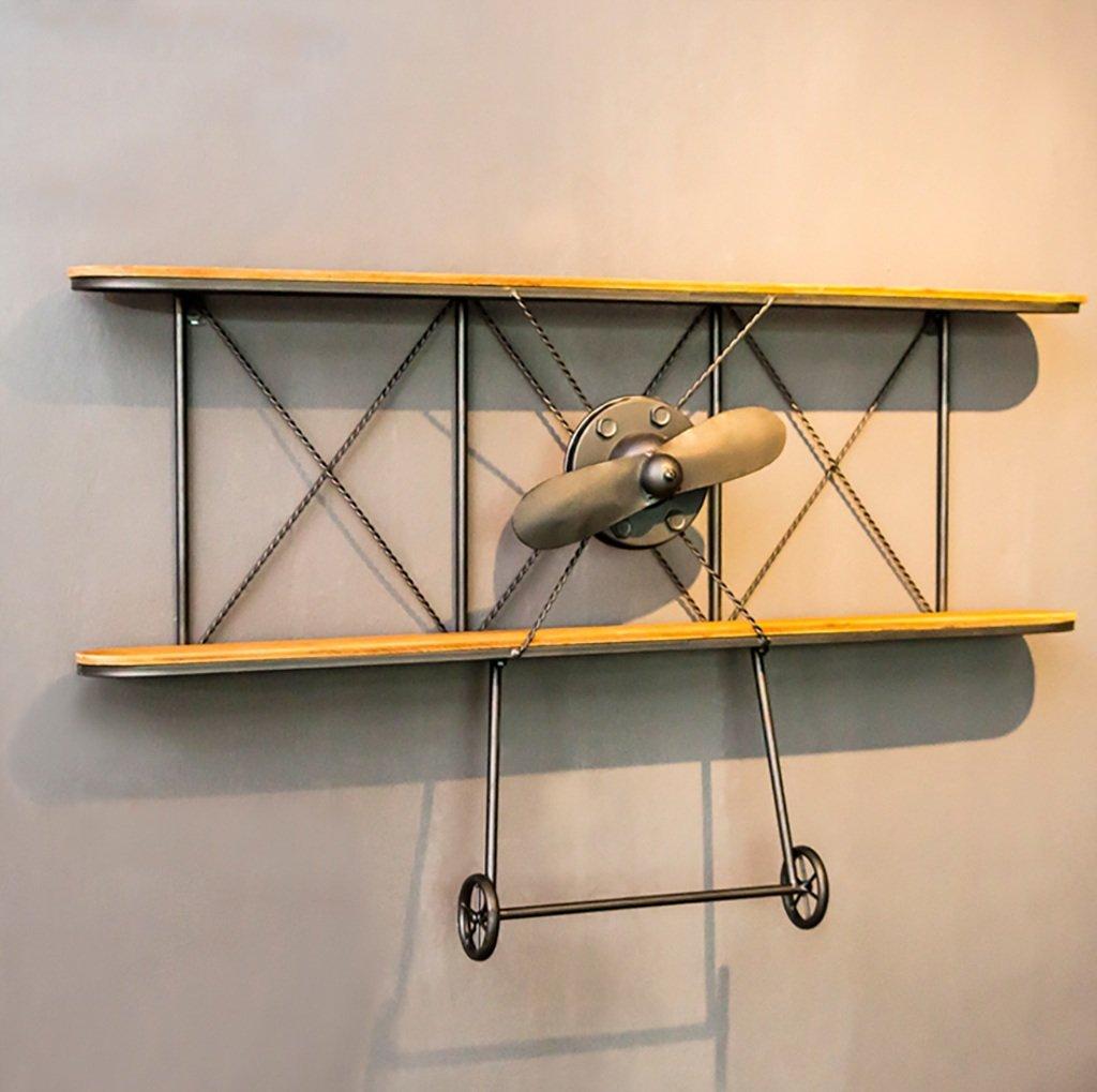 インダストリアルモダン100 * 12 * 60cmの航空機ラック2階フローティングシェルフ鉄ストレージラックの壁の装飾 装飾フレーム B07TF22KKV