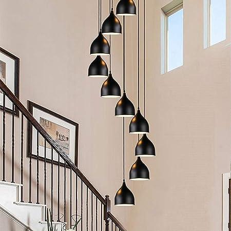 Mlshlf lamp 10 Luces Moderno Minimalista Araña Escalera en Espiral Larga lámpara Creativa Hotel Villa Escalera Araña Sala de Estar Comedor Araña Color Negro 45x250cm: Amazon.es: Hogar