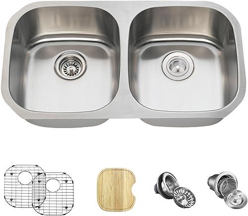 502 16 Gauge Stainless Steel Kitchen Ensemble Bundle – 6 Items Sink, Basket Strainer, Standard Strainer, 2 Sink Grids, and Cutting Board