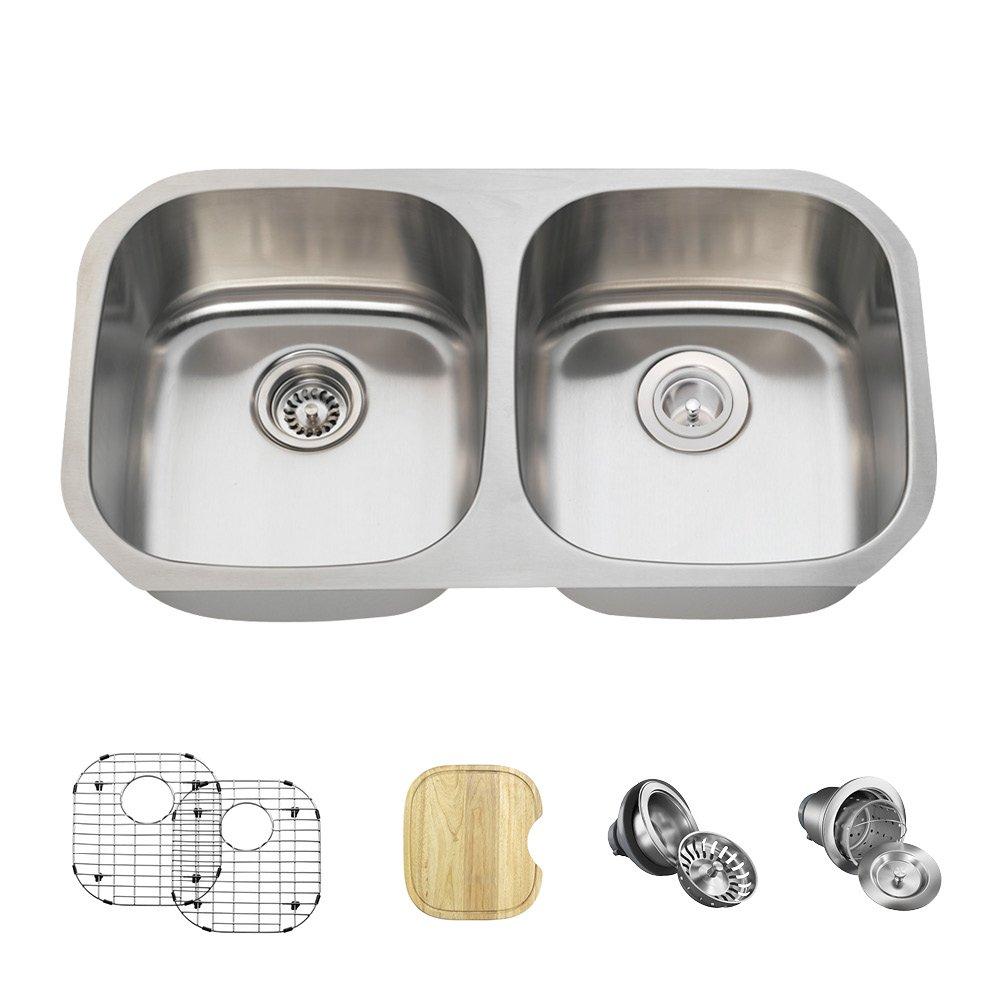 502 18 Gauge Stainless Steel Kitchen Ensemble (Bundle - 6 Items: Sink, Basket Strainer, Standard Strainer, 2 Sink Grids, and Cutting Board)