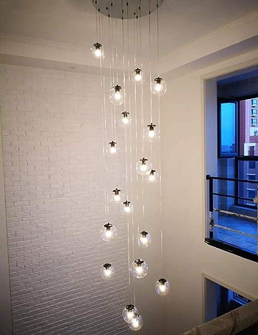 Multi-bola de cristal escalera de araña colgando larga de la lámpara duplex construcción de la lámpara grande sala de estar villa hueco sencilla lámpara moderna escalera,18 goals: Amazon.es: Hogar