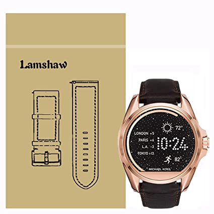 Lamshaw Leather Strap Replacement Band for Michael Kors Smartwatch Strap (Leather-Coffee)