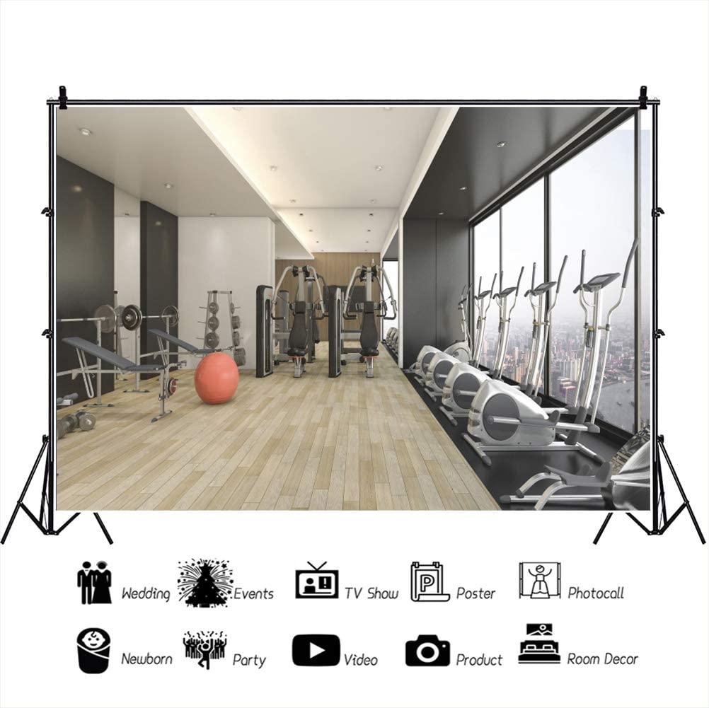 Yeele 10x8ft Modern Gym Backdrop Fitness Machines Interior with City View Photography Background Modern Sport Equipments Decor Kid Adult Artistic Portrait Photo Shoot Props Vinyl Studio Wallpaper