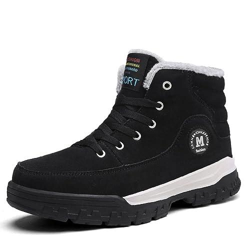 Gracosy Hombre Invierno Botines Caliente alineado Botines Calentar Botas De Nieve Anti-deslizante Lazada Zapatos Botas de Trabajo Impermeable Botine Cuero ...