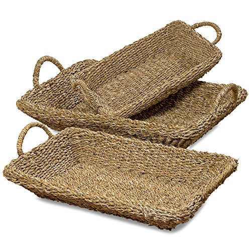The Made by Nature Rectangular Oversized Trays, Set of 3, Rustic Chunky Weave Seagrass Nesting Floor Trays, Handles, From Over 2 1/2 Ft (28, 24, and 20 Inches Long) Made By Hand, By WHW