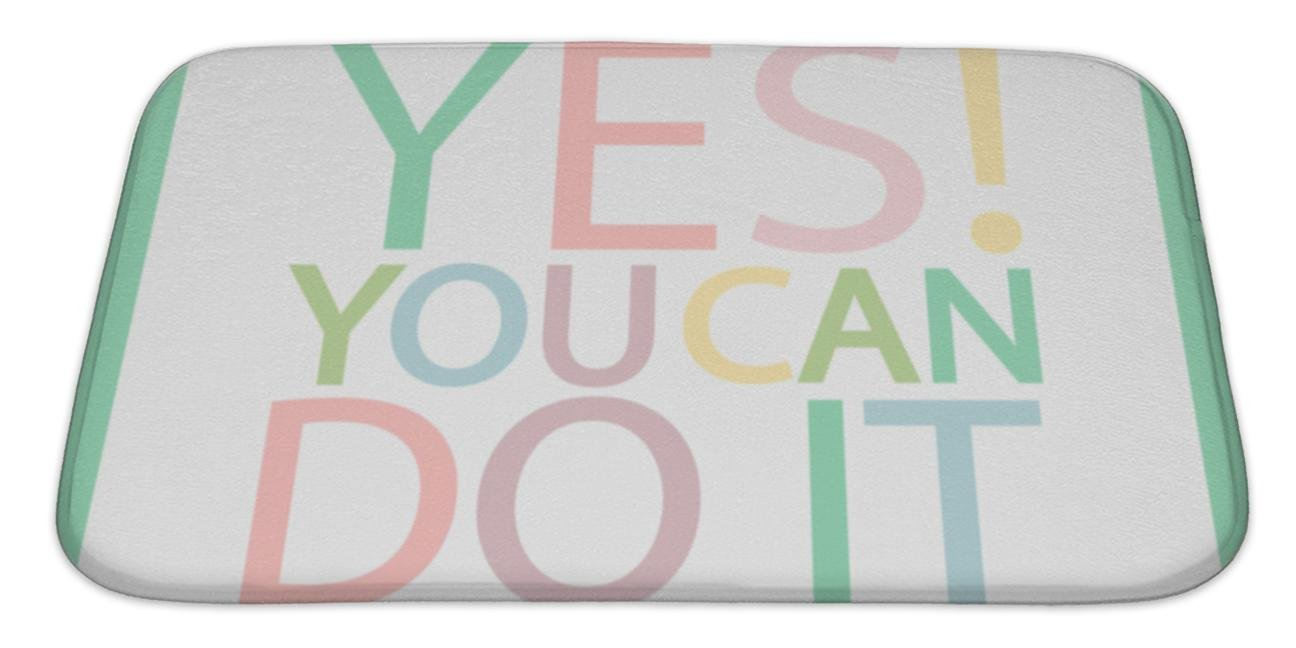 Gear New Bath Mat for Bathroom, Memory Foam Non Slip, Yes You Can Do It Multicolored Motivation Everyday Quote Inspirational, 34x21, 6287623GN