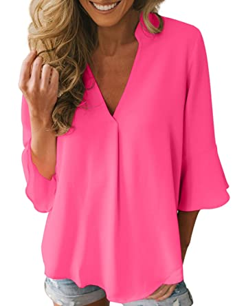Dean Fast Women Casual Chiffon Flare Sleeve V Neck Plus Size Blouses