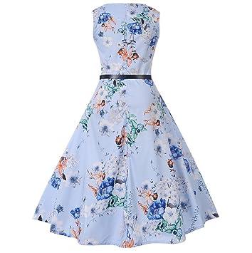 Igemy- Vestido Largo para Mujer, Estilo Vintage, sin Mangas, Casual, para