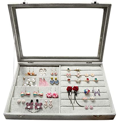 01ea3e66c670c Wuligirl Clear Lid Earrings Ring Organizer Holder Velvet Jewelry Tray  Display Showcase Storage 20 Pairs Earring Box Case Lockable(Ring Mix  Earring ...