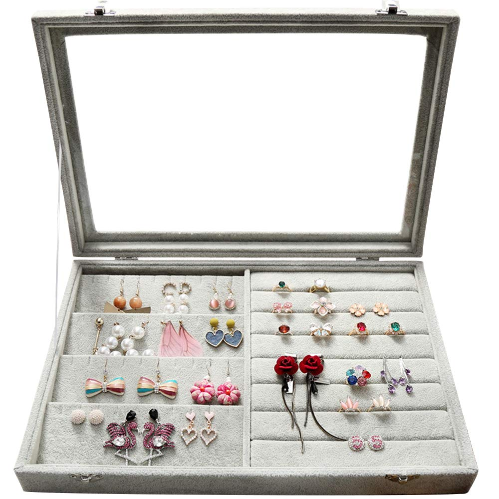 Wuligirl Clear Lid Earrings Ring Organizer Holder Velvet Jewelry Tray Display Showcase Storage 20 Pairs Earring Box Case Lockable(Ring Mix Earring Box)