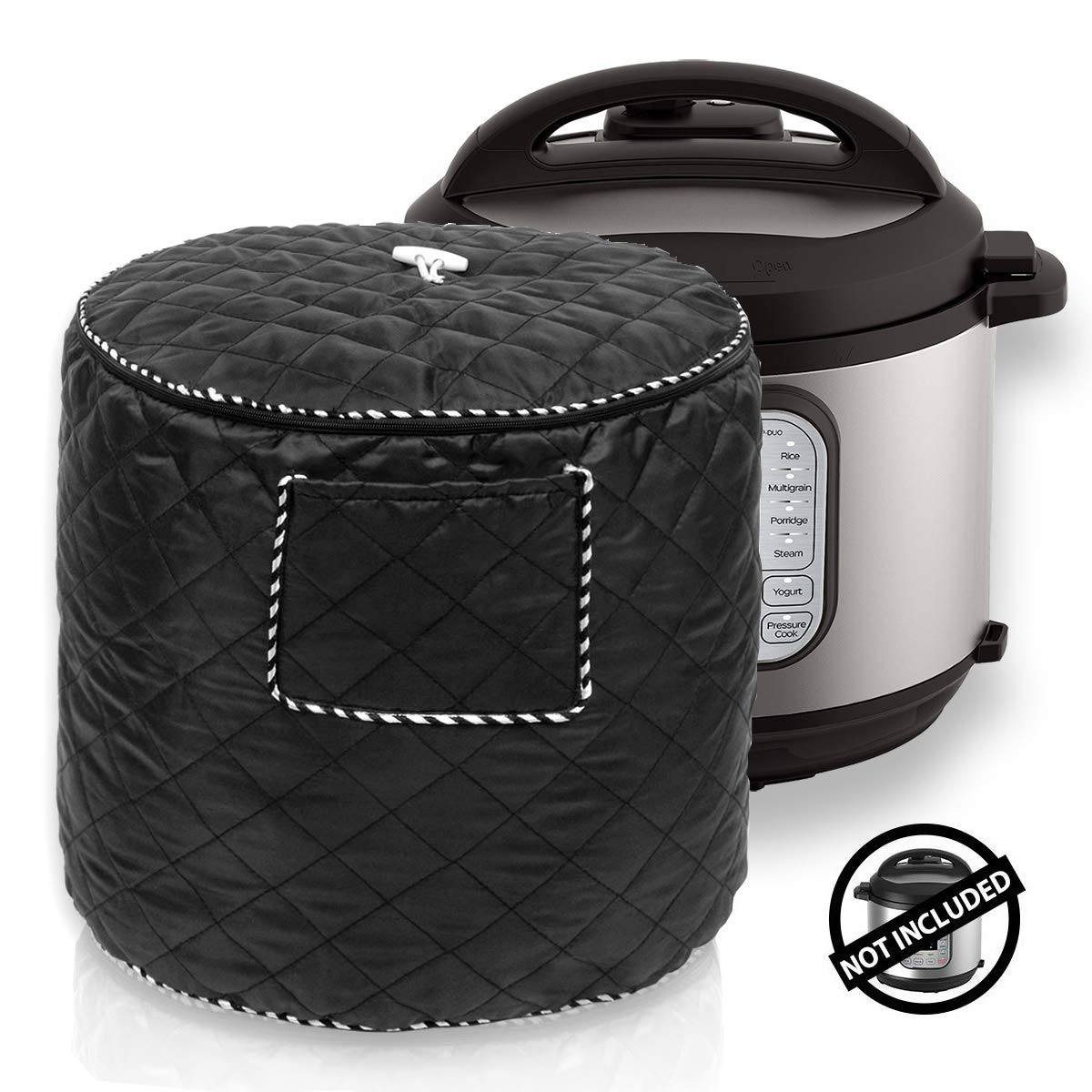 Kitchen Appliance Cover Bag for 6 Quart Instant Pot and Electric Pressure Cooker, Black