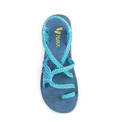 52a9610232d2fe Plaka Flat Summer Sandals for Women Cornflower Size 5 Palm Leaf