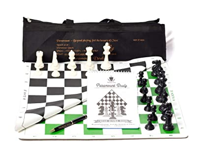 Paramount Dealz 20x 20 Professional Vinyl Chess Set with 2 Extra Queens/Chess Bag (Green and Black)