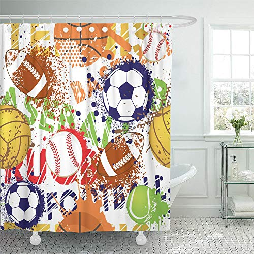 Emvency Shower Curtain 72x72 Inch Home Postcard Decor Boy Sport Pattern with Balls Repeated for Child Creative Grunge Design White Fitness Shower Hook Set are Included