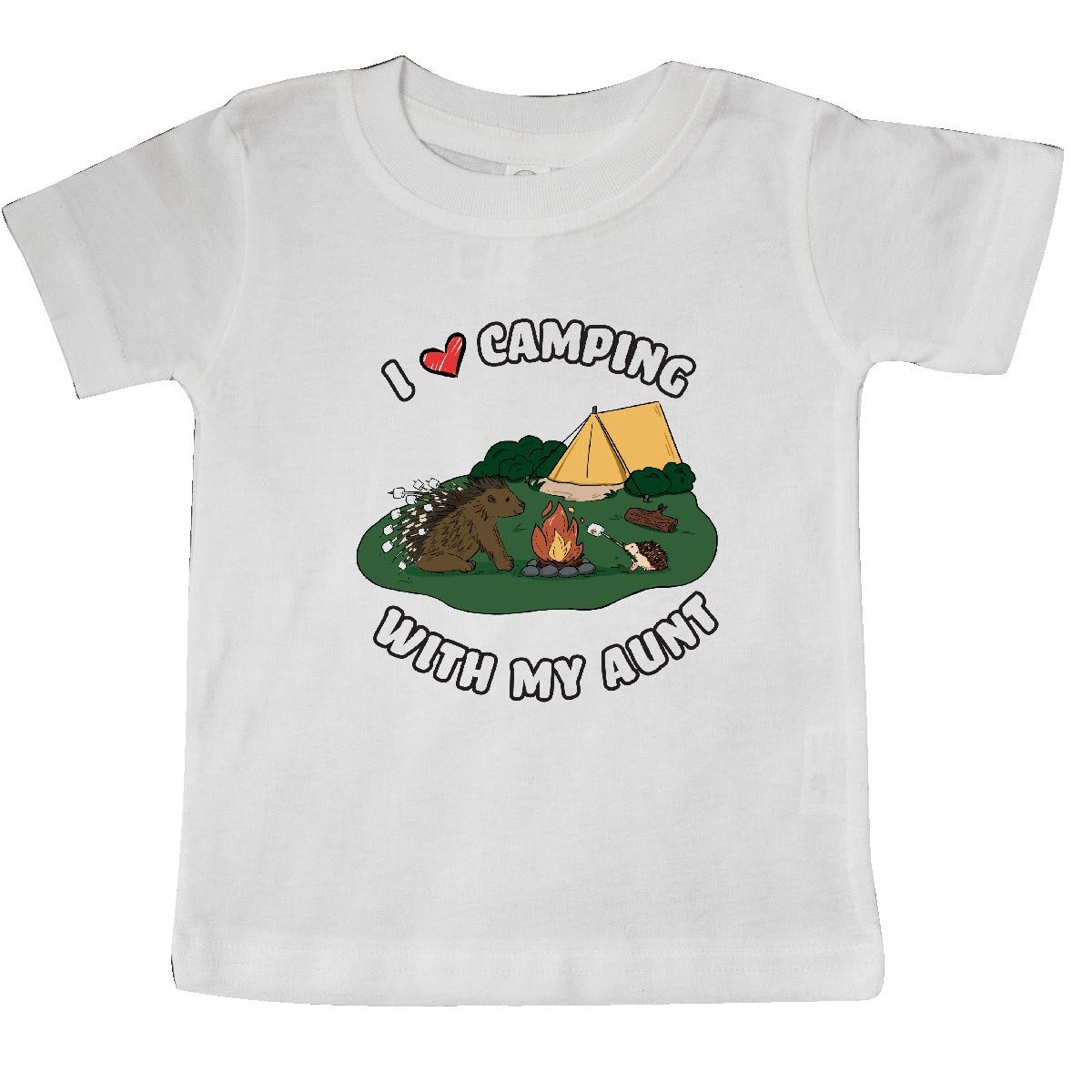 inktastic I Heart Camping with My Aunt with Hedgehog and Porcupine Baby T-Shirt