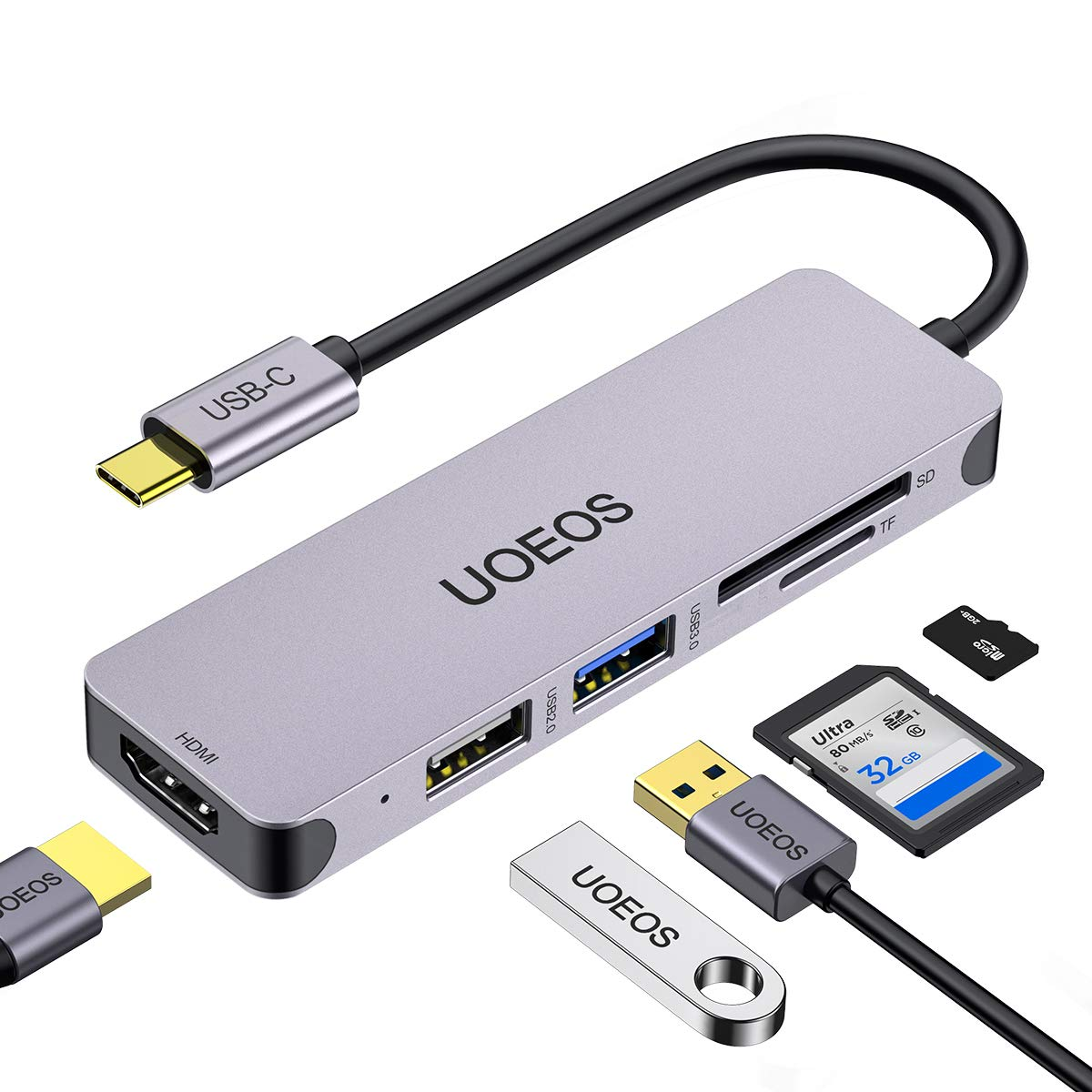 USB C Hub, UOEOS 5 in1 USB C to HDMI Adapter,Thunderbolt 3 USBc HDMI Card Reader Compatible with MacBook Pro, Surface Pro/Go,IPad pro,XPS 13,DEX Adapter and Other Type C Laptops