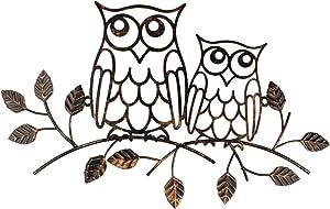 YIYA Metal Owl Decor Metal Owl Wall Art Decor for Home Living Room Bedroom Garden Patio Indoor or Outdoor Decor