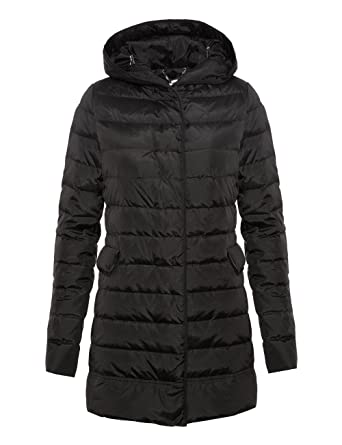 Motivi Women s Long Down Jacket With Genuine Down and Hood. Black ... 6ff55cbdb68f
