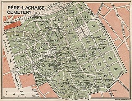 CIMETIÈRE DU PÈRE-LACHAISE  Vintage map plan  Pere-Lachaise