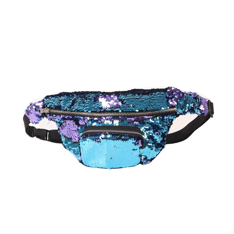 Dark blue Women Outdoor Travel Mermaid Sequin Samll Crossbody Bum Bag Waist Pack Magic Sequin-Waist-Bag Fanny Pack
