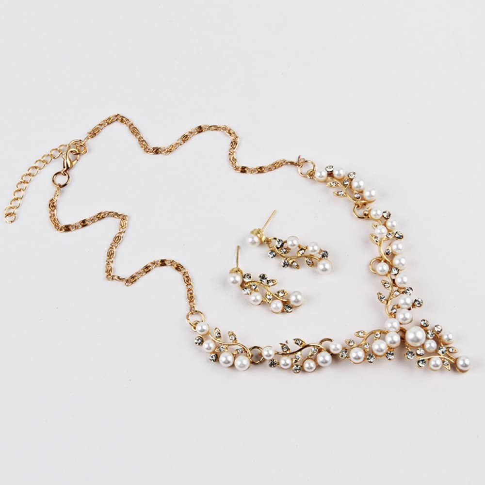 Ulanda-EU Womens Necklaces and Pendants Pearl Earrings Sets Ladies Fashion Gold Silver Crystal Rhinestone Choker Chunky Statement Chain for Wedding Party Jewellery for Women N49