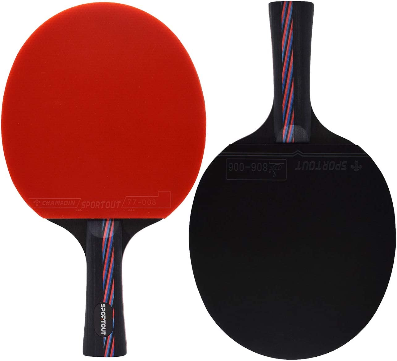 Professional Pingpong Racket with Case Sportout Sriver-He Rubber Table Tennis Paddle 9-ply Wood and 8-ply Carbon Blade About 210g