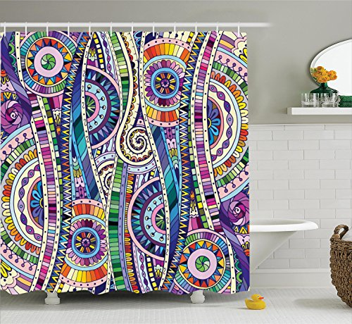 purple and green shower curtains - 3
