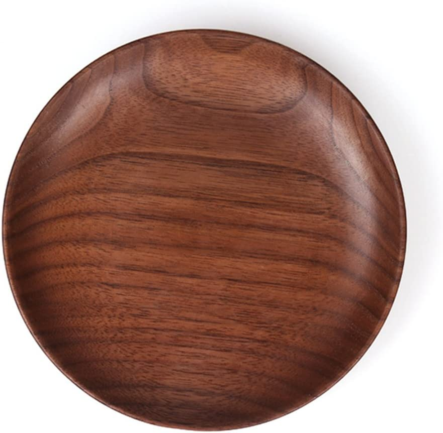 Aroma House Rustic Black Walnut Small Round Solid Wooden Serving Tray Stackable Food Snack Tea Tray Brown