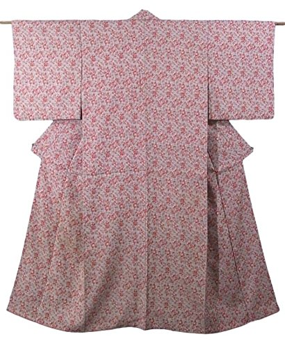 アンティーク 着物 正絹 袷 唐花模様 裄62cm 身丈148cm