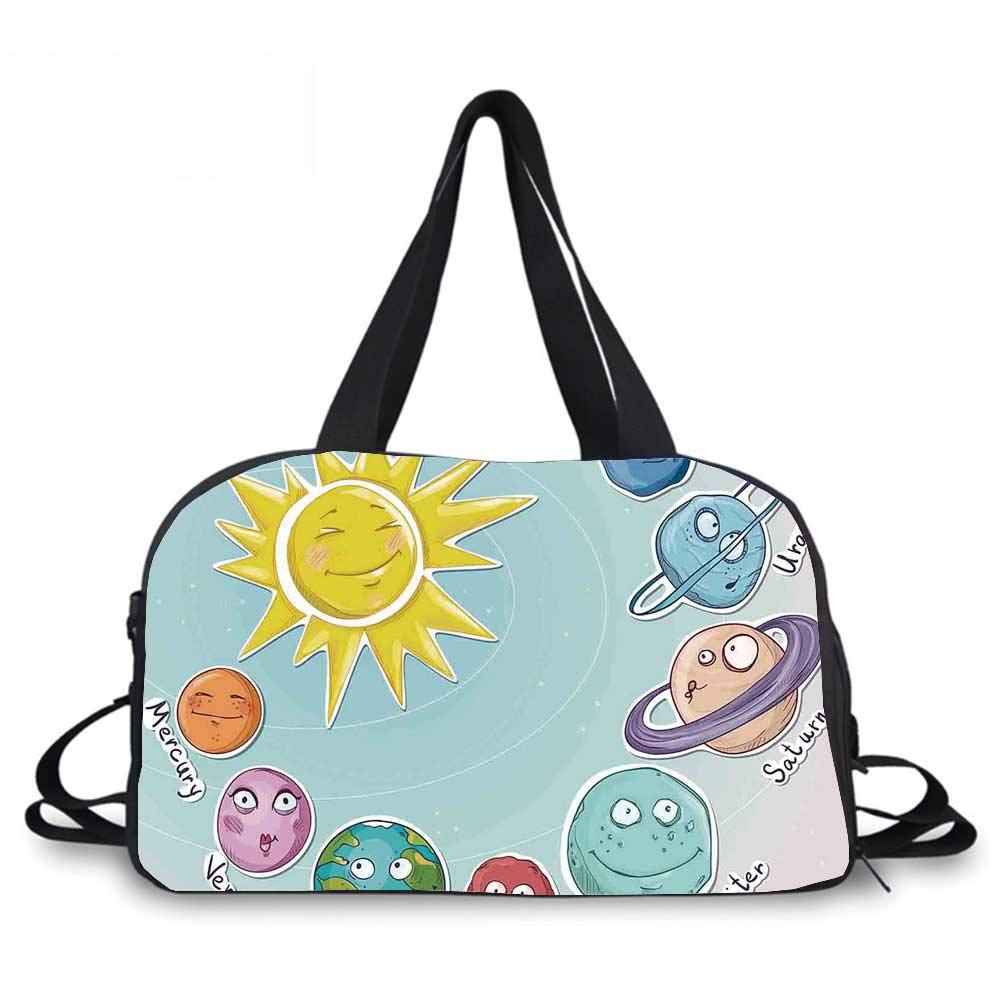 Space Personality Travel Bag,Cute Cartoon Sun and Planets of Solar System Fun Celestial Chart Baby Kids Nursery Theme for Travel Airport,One_Size