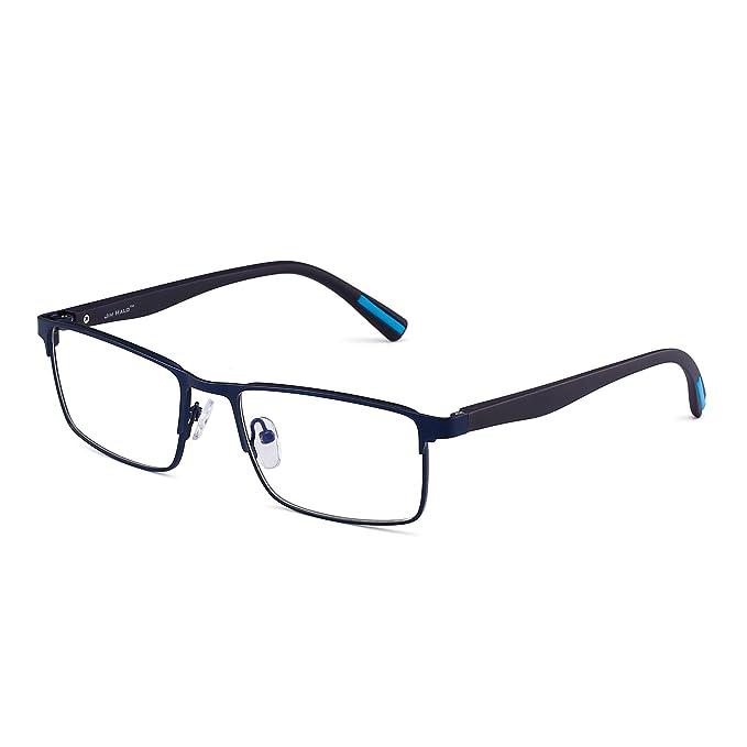 fe26d2cca9 JIM HALO Rectángulo Marco Óptico Anteojos Bisagras de Resorte Metal RX-able  Gafas Lente Claro