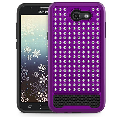 Cell Accessories For Less (TM) Samsung Galaxy J7 V / J7 2017 - Rubberized Star Diamond Silicone Hybrid Case Cover - Purple Bundle (Stylus & Micro Cleaning Cloth) - By TheTargetBuys