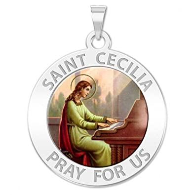 Amazon saint cecilia round religious medal color 23 inch saint cecilia round religious medal color 23 inch size of dime mozeypictures Choice Image