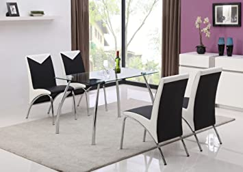 Jane Harris Interiors JHI Contemporary Glass Chrome Dining Room Table U0026 4  Chairs