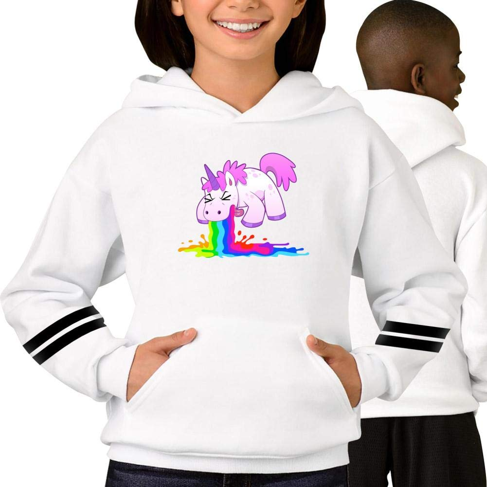 Youth Hoodie Unicorn Puking Long Sleeve Fleece Pullover Hoody Sweatshirt