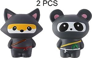 Anboor 2 PCS Squishies Ninja Jumbo Panda and Fox Slow Rising Squishies Kawaii Scented Soft Animal Toys